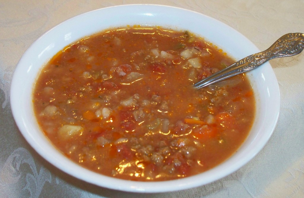 Hamburger Vegetable Soup | Contented at Home