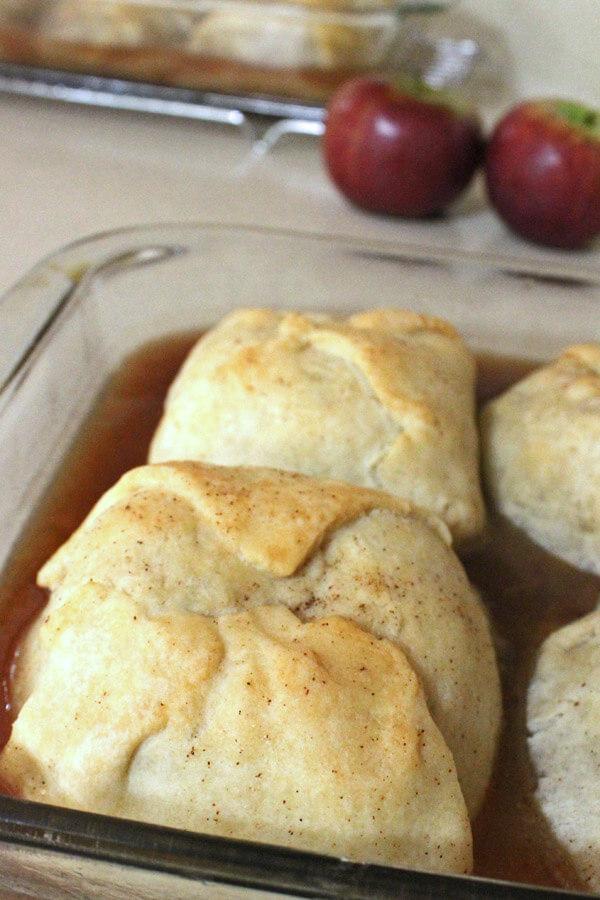 Old-fashioned apple dumplings in baking dish