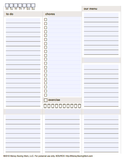 image relating to Free Printable Planners identify 10 No cost Printable Each day Planners Glad at Property
