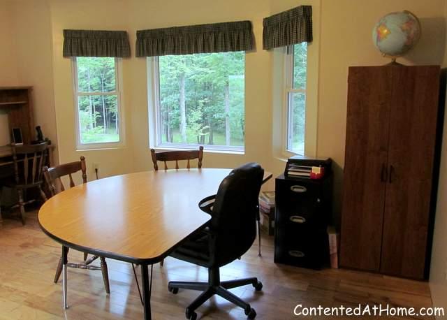 Minimalist homeschool room