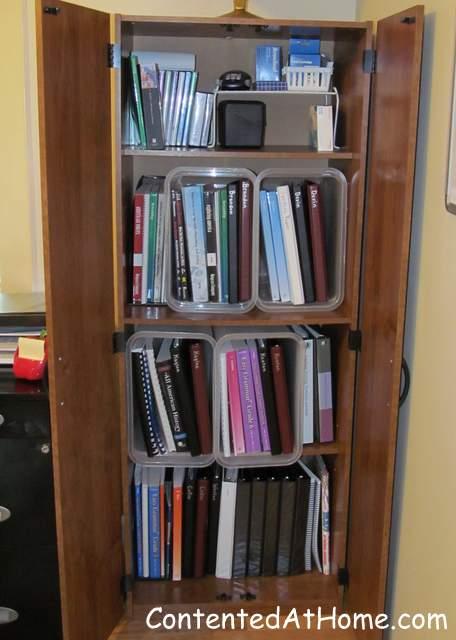 Homeschool room book cabinet
