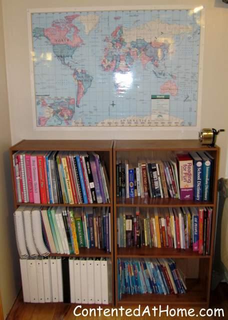 Homeschool room bookshelves