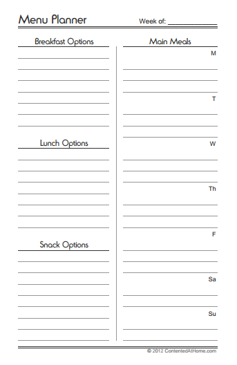 Free Printable Half-Size Menu Planner   Contented at Home