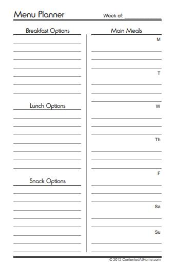 Free Printable Menu Planner