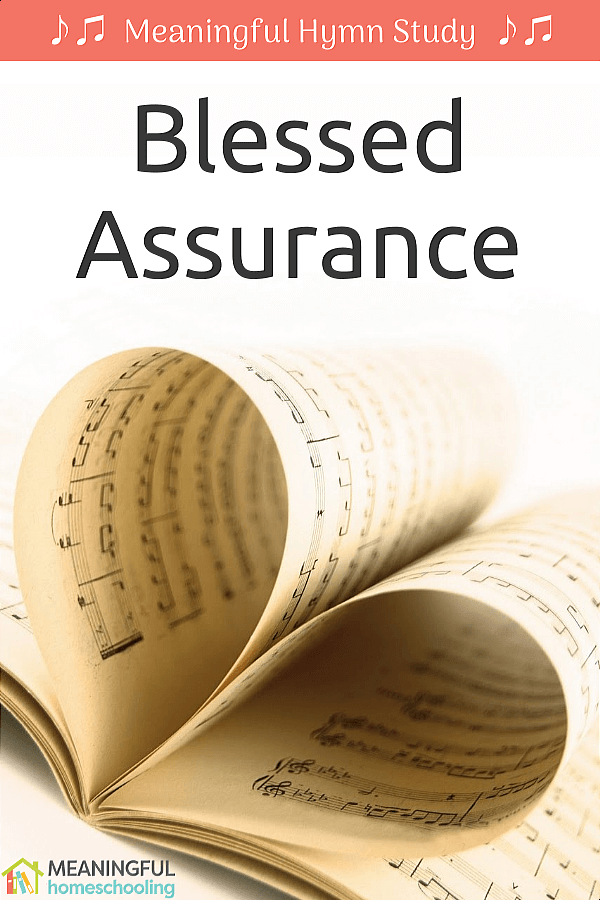 "Music pages folded to make a heart; text overlay that says ""Blessed Assurance"""