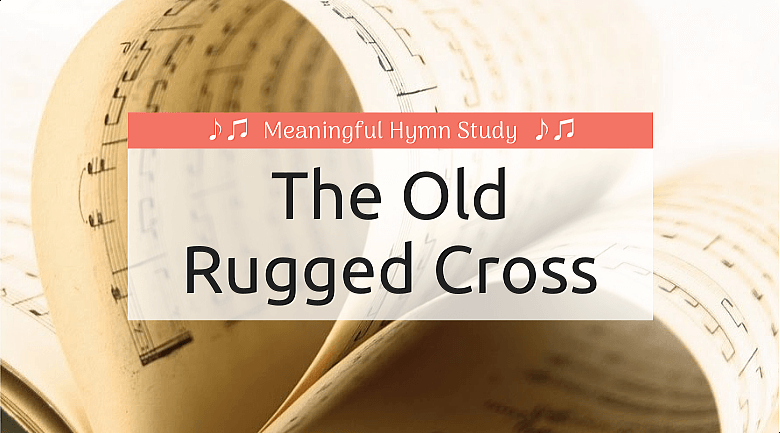 """Music pages folded to make a heart; text overlay that says """"The Old Rugged Cross"""""""