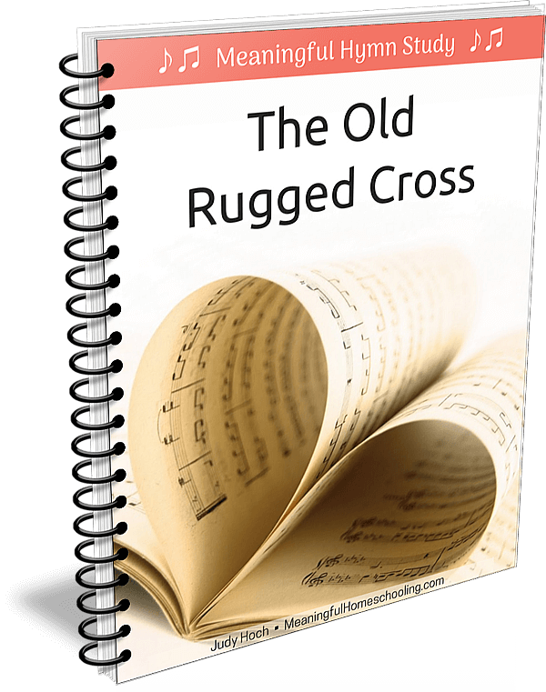 """Spiral bound book with music pages on cover and title """"The Old Rugged Cross"""""""