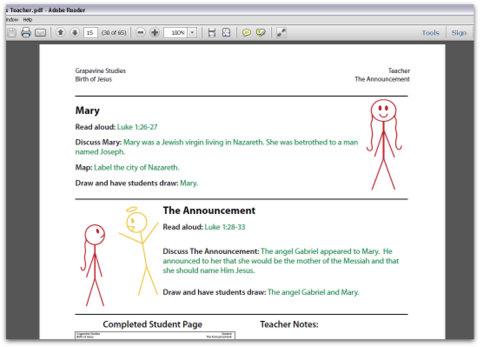 Screenshot of Grapevine Studies teacher manual