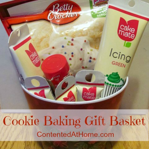 Small basket filled with cookie mix, icing, and sprinkles