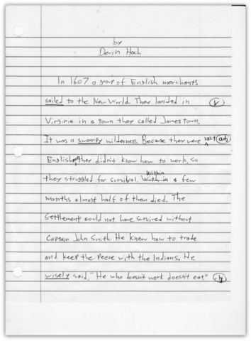 Sample of rough draft for IEW writing lesson