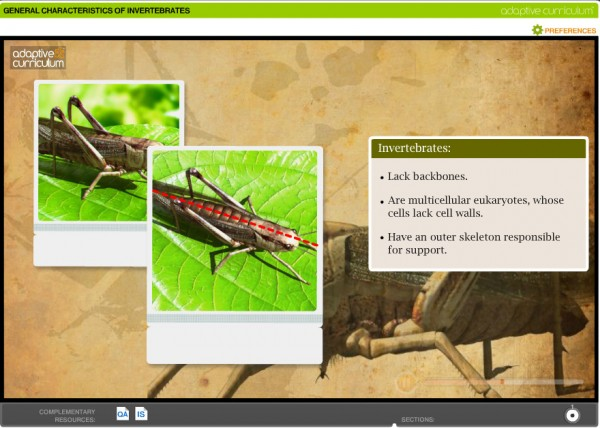 Screenshot of Uzinggo online science lesson