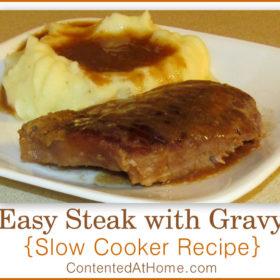Easy Steak with Gravy {Slow Cooker Recipe}