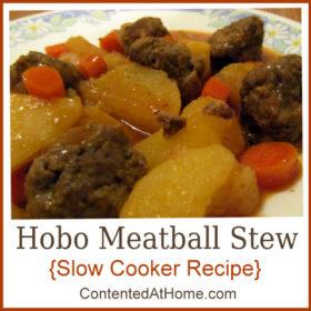 Hobo Meatball Stew {Slow Cooker Recipe}