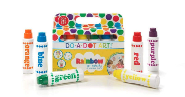 Box of rainbow-colored dot markers