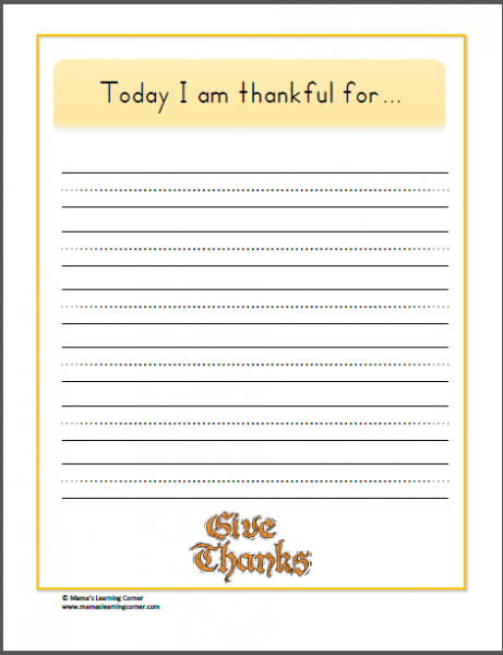 Thankful Pages from www.mamaslearningcorner.com