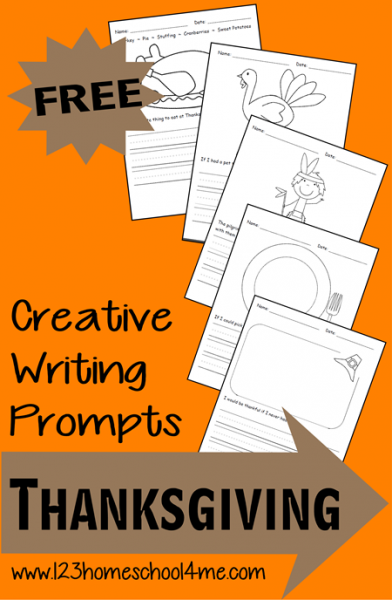 Thanksgiving Creative Writing Prompts from www.123homeschool4me.com