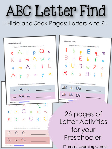 abc hide and seek letter find - Free Pre School Printables