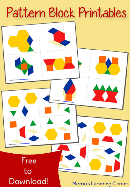 Free printable pattern block mats from MamasLearningCorner.com