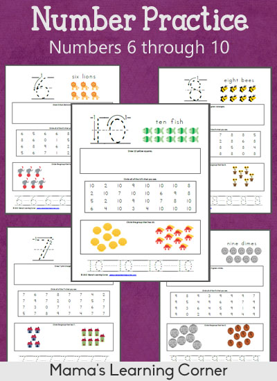 Free printable number worksheets from MamasLearningCorner.com