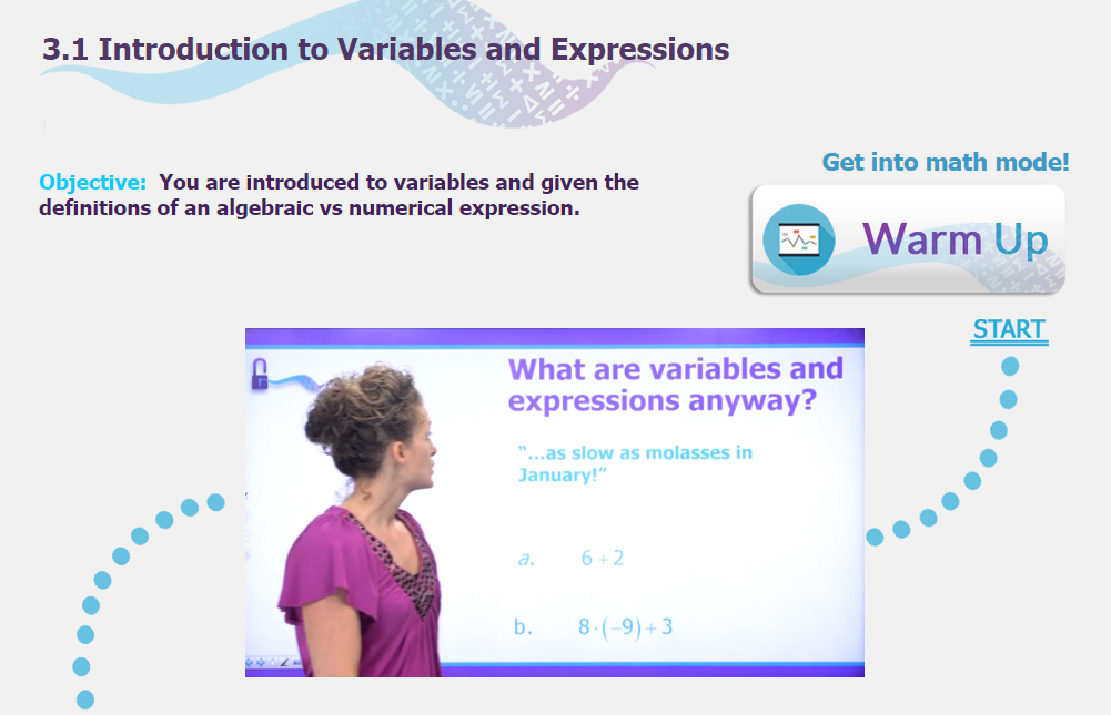 Screenshot of online interactive math curriculum