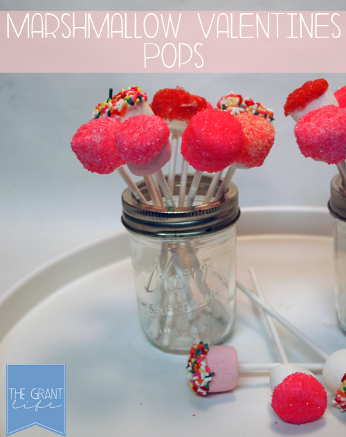 Marshmallow Valentine Pops in a small glass jar