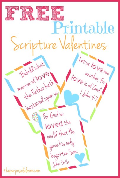 Free Printable Scripture Valentines from The Purposeful Mom