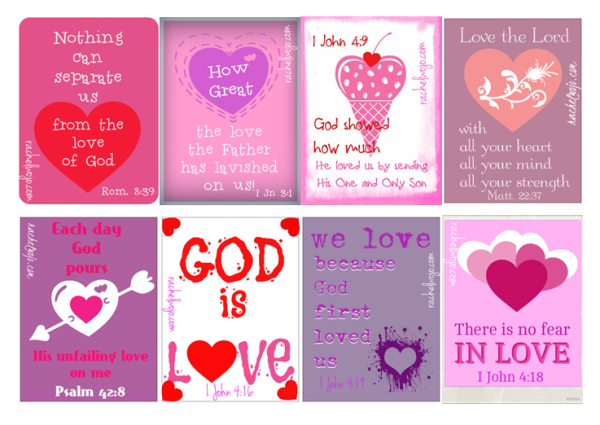 Bible Verse Valentines from Rachel Wojo