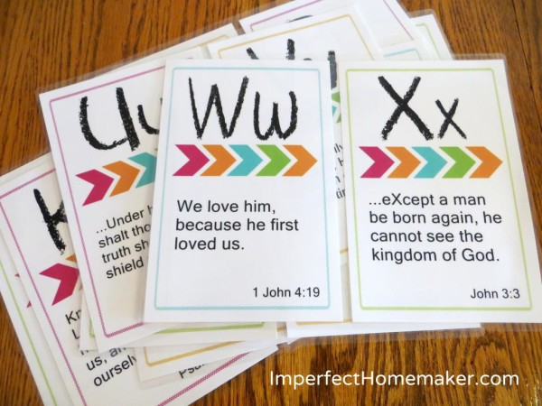 ABC Bible Memory Verses for Preschoolers at Imperfect Homemaker
