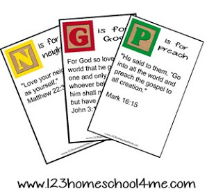 ABC Bible Verse Cards for Families at 123 Homeschool 4 Me