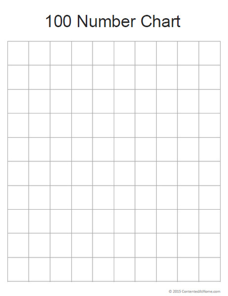 free math printable  blank 100 number chart