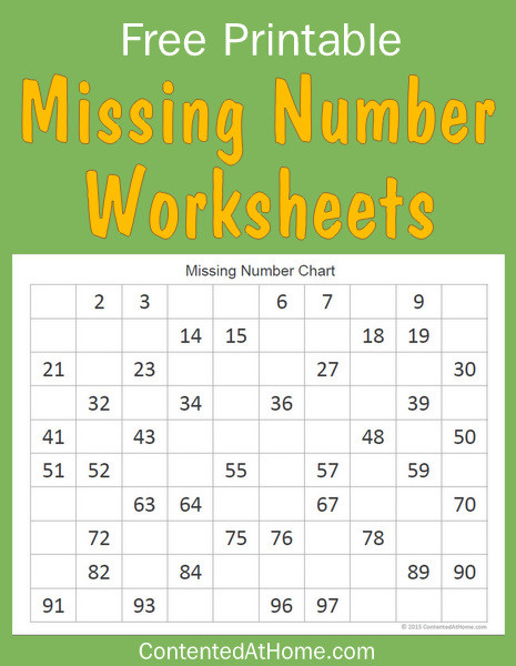 Free Math Printables: Missing Number Worksheets | Contented at Home