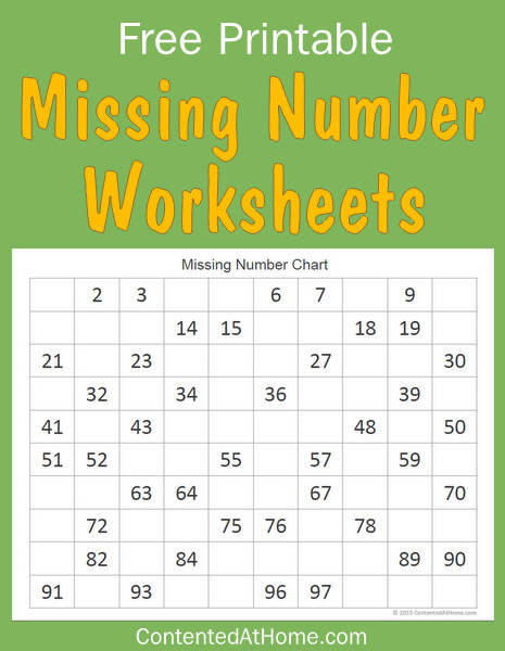 free math printables missing number worksheets contented at home. Black Bedroom Furniture Sets. Home Design Ideas