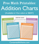 Free Math Printables: Addition Charts