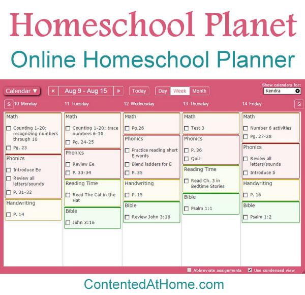 Screenshot of online homeschool planner
