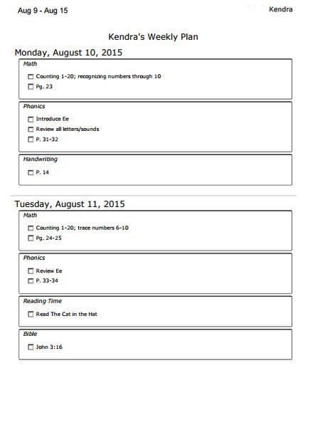 Printable assignment sheet from Homeschool Planet online homeschool planning software