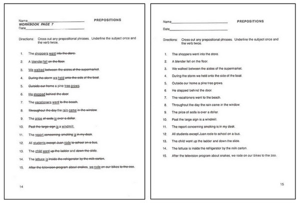 Answer key and worksheets are on facing pages in Easy Grammar's teacher editions.