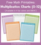 Free Math Printables: Multiplication Charts (0-12)