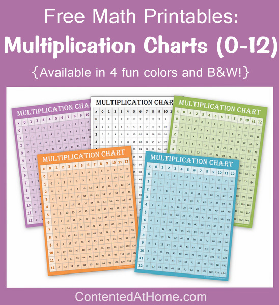 Number Names Worksheets free printable multiplication chart 1-12 : Free Math Printables: Multiplication Charts 0-12   Contented at Home