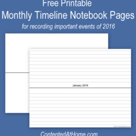 Free Printable Monthly Timeline Notebook Pages {2016}