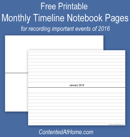 Free Printable Monthly Timeline Notebook Pages 2016