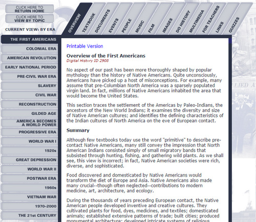 Free online resource for high school American history