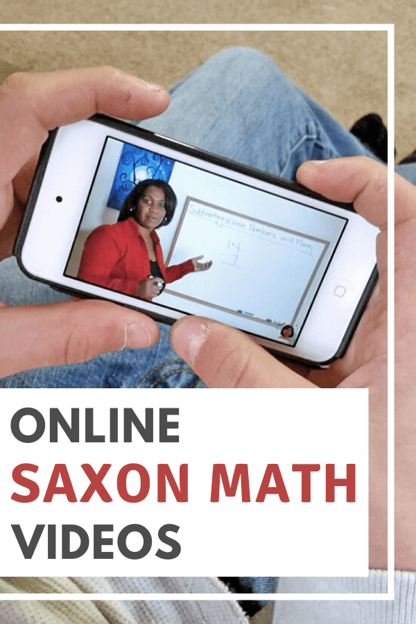 Hands holding ipod with Saxon math videos on screen
