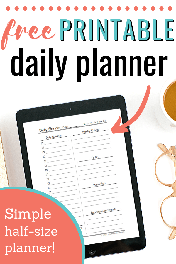 iPad with printable half-size planner page on screen