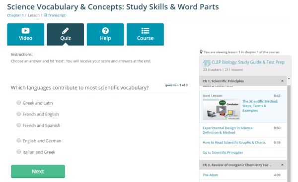 Screenshot of online CLEP quizzes