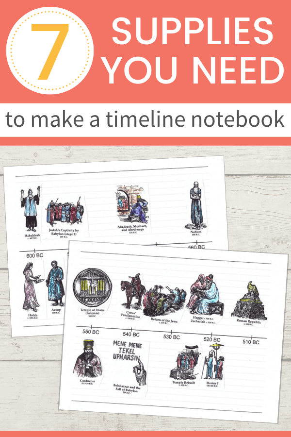 Two timeline notebook pages with colorful illustrations