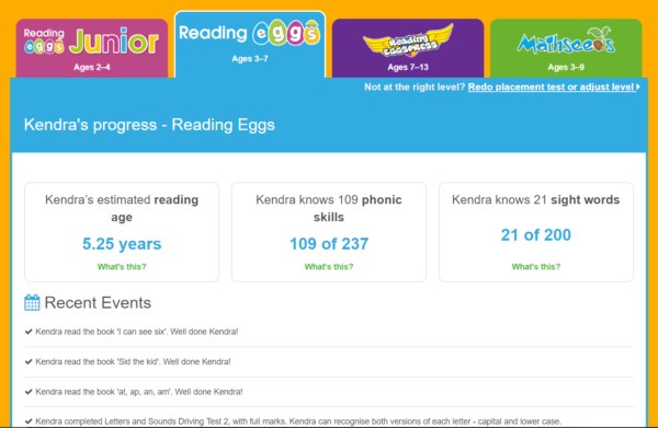 Reading Eggs parent dashboard