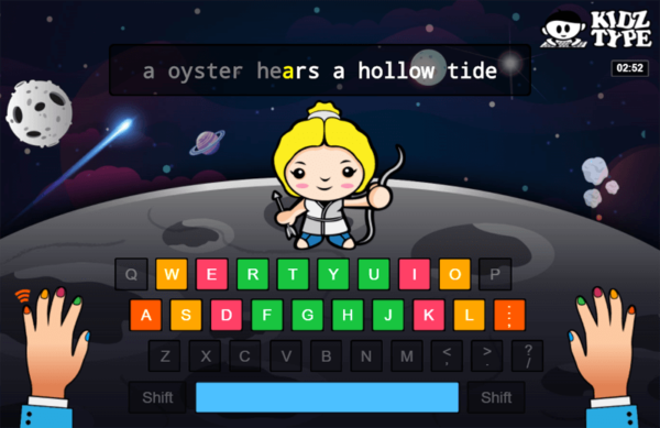 Screenshot of KidzType typing game