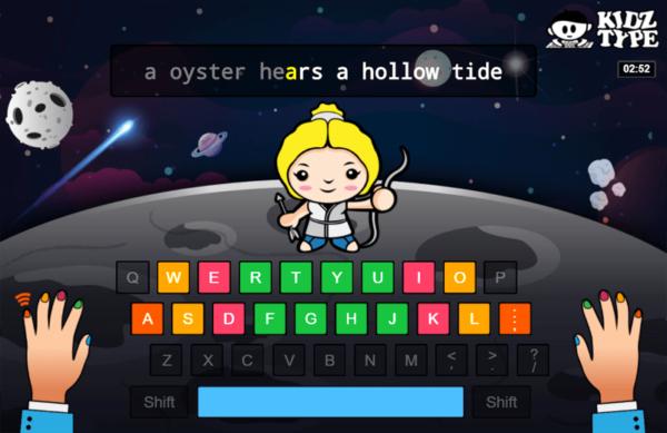 Screenshot of KidzType typing game