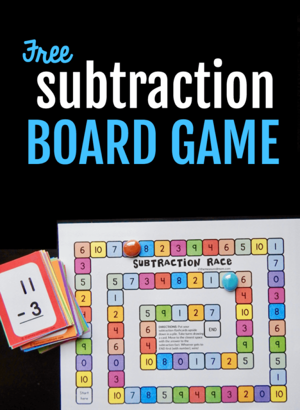 subtraction game with flash cards