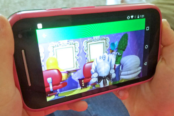 Close-up view of a child's video on a smartphone